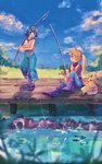 2girls :d bangs black_eyes blonde_hair blue_eyes blue_hair blue_pants blue_sky boots breasts closed_mouth cloud cloudy_sky creature eye_contact fishing fishing_rod flat_chest gen_1_pokemon grass highres holding holding_fishing_rod long_hair long_sleeves looking_at_another mu_acrt multiple_girls open_mouth outdoors pants pikachu pokemon pokemon_(creature) pokemon_(game) pokemon_sm pokemon_special ponytail purple_footwear sandals sitting sky small_breasts smile suiren_(pokemon) walking water wind yellow_(pokemon)
