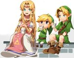 1girl 2boys ahoge belt blue_eyes boots bottle bracer brown_footwear chibi crossover dress drinking dual_persona earrings full_body green_eyes hair_intakes hat highres jewelry link long_dress milk milk_bottle multiple_boys pelvic_curtain pointy_ears princess_zelda sitting smile super_smash_bros. the_legend_of_zelda the_legend_of_zelda:_a_link_between_worlds the_legend_of_zelda:_ocarina_of_time the_legend_of_zelda:_the_wind_waker toon_link triforce tunic young_link zozy_yy