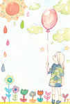 1girl balloon child_drawing cloud colored_pencil_(medium) commentary_request flower kaga_rin looking_to_the_side outdoors socks solo standing star sun tamura_(yorlmlchl) traditional_media usagi_drop water_drop watercolor_(medium)