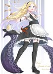 1girl :d abigail_williams_(fate/grand_order) absurdres alternate_costume apron bangs bare_shoulders black_footwear black_legwear black_skirt blonde_hair blush bow breasts character_name cleavage collarbone commentary_request copyright_name cup detached_sleeves enmaided eyebrows_visible_through_hair fate/grand_order fate_(series) forehead frilled_apron frilled_skirt frills full_body garter_straps highres key long_hair looking_at_viewer maid maid_headdress multiple_bows open_mouth orange_bow outstretched_arms parted_bangs shoes short_sleeves skirt small_breasts smile solo spilling spread_fingers standing suction_cups takenoko_27074918 tea teacup teapot tentacles thighhighs tray two-tone_background very_long_hair waist_apron white_apron wrist_cuffs zettai_ryouiki