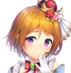 1girl bow bowtie brooch brown_hair crown flower frills gloves hair_flower hair_ornament hand_to_own_mouth highres jewelry koizumi_hanayo kokkeina_budou kyouou_ena looking_at_viewer love_live! love_live!_school_idol_festival love_live!_school_idol_project pink_flower pink_rose portrait purple_eyes red_eyes red_flower red_rose rose short_hair simple_background smile smug solo striped_neckwear white_background white_gloves