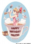 1girl apron bf._(sogogiching) copyright_request cup drinking in_container in_cup milk minigirl naked_apron solo tea