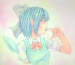 1girl acrylic_paint_(medium) blue_eyes blue_hair cirno facing_away finger_to_mouth fingernails gradient gradient_background graphite_(medium) hair_ribbon highres open_mouth puffy_short_sleeves puffy_sleeves ribbon short_hair short_sleeves side_glance solo tongue touhou traditional_media vest watercolor_(medium) wings yuyu_(00365676)
