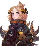 1girl abigail_williams_(fate/grand_order) absurdres bangs belt black_bow black_jacket blonde_hair blue_eyes bow chestnut_mouth fate/grand_order fate_(series) hair_bow hair_bun highres jacket long_hair long_sleeves looking_at_viewer open_mouth orange_bow parted_bangs rsef sleeves_past_fingers sleeves_past_wrists solo stuffed_animal stuffed_toy teddy_bear tentacles upper_body