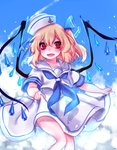 1girl :d alternate_costume alternate_headwear anchor_symbol bangs blonde_hair blue_neckwear blue_ribbon blue_sky blush commentary_request crystal day eyebrows_visible_through_hair fang feet_out_of_frame flandre_scarlet hair_between_eyes hair_ribbon hat korean_commentary neckerchief one_side_up open_mouth outdoors red_eyes ribbon sailor_collar sailor_hat sailor_shirt shan shirt short_hair skirt skirt_hold sky smile solo thighs touhou white_headwear white_sailor_collar white_shirt white_skirt wings