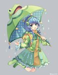 1girl backpack bag blue_hair boots bow braid dress frog green_bow green_dress green_footwear green_hairband holding holding_umbrella jumping lily_pad long_hair long_sleeves open_mouth polka_dot rain randoseru rento_(rukeai) shironeko_project smile solo tsuyuha_(shironeko_project) umbrella