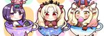 3girls absurdres bangs black_legwear blonde_hair blush bow brown_eyes candy cape closed_mouth commentary_request covered_mouth cup earrings ereshkigal_(fate/grand_order) facial_mark fate/grand_order fate_(series) food forehead_mark hair_bow headpiece heart highres holding holding_food horns ibaraki_douji_(fate/grand_order) ibaraki_douji_(swimsuit_lancer)_(fate) in_container in_cup infinity jako_(jakoo21) jewelry lollipop long_hair looking_at_viewer multiple_girls oni oni_horns parted_bangs purple_eyes purple_hair red_bow red_cape red_eyes short_eyebrows shuten_douji_(fate/grand_order) shuten_douji_(halloween)_(fate) skull smile sparkle star swirl_lollipop teacup thick_eyebrows thighhighs tiara twintails two_side_up v-shaped_eyebrows white_bow