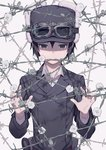 1girl androgynous barbed_wire black_eyes black_hair black_hat black_jacket clover collared_shirt expressionless flower fur_hat goggles goggles_on_head goggles_on_headwear grey_shirt hair_between_eyes hat jacket kino kino_no_tabi kuroboshi_kouhaku long_sleeves looking_at_viewer looking_down mouth_hold official_art shadow shirt shirt_under_jacket short_hair solo tomboy uniform upper_body white_background white_flower wire