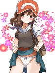 1girl bag baseball_cap blush brown_eyes brown_hair collarbone commentary_request cowboy_shot embarrassed female_protagonist_(pokemon_lgpe) flower groin hat highres kinagiri lifted_by_self looking_at_viewer panties pokemon pokemon_(game) pokemon_lgpe ponytail short_sleeves skirt skirt_lift solo teasing text_focus translation_request underwear wavy_mouth white_panties