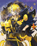 1boy alternate_color black_gloves blonde_hair blue_eyes color_connection crossover fang gen_4_pokemon gloves hair_over_one_eye kantarou_(8kan) lion luxray male_focus open_mouth pokemon pokemon_(creature) ponytail shinx shiny_pokemon shishiou shishiou_no_mofumofu smile sparkle touken_ranbu