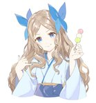 1girl :t asakaze_(kantai_collection) bangs between_fingers blue_bow blue_hakama blue_nails bow commentary_request dango food forehead hair_bow hakama head_tilt holding holding_food japanese_clothes kantai_collection kimono light_brown_hair long_hair looking_at_viewer meiji_schoolgirl_uniform nail_polish parted_bangs sanshoku_dango shiosoda sidelocks simple_background skewer smile solo upper_body wagashi wavy_hair white_background white_kimono