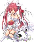 1girl ahoge choker collarbone date_a_live dress elbow_gloves eyebrows_visible_through_hair flower gloves hair_between_eyes hair_ribbon hibiki_mio holding holding_flower itsuka_kotori jewelry kneehighs long_hair looking_at_viewer necklace red_eyes red_flower red_hair ribbon short_dress simple_background sitting sleeveless sleeveless_dress solo strapless strapless_dress twintails very_long_hair white_background white_dress white_gloves white_legwear white_ribbon wings