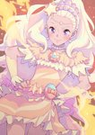 1girl amamiya_erena blonde_hair blush bouzu_(bonze) brooch closed_mouth commentary_request cure_soleil earrings eyebrows hands_on_hips highres jewelry long_hair magical_girl mole mole_under_eye necklace orange_skirt precure purple_eyes skirt smile solo star star_twinkle_precure