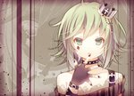 1girl bare_shoulders belt black_gloves cross crown fingerless_gloves fingernails gloves green_eyes green_hair gumi jewelry markings nail_polish neck_ring open_hand open_mouth purple_nails see-through short_hair solo spikes striped vocaloid yuduki