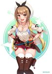 1girl :d atelier_(series) atelier_ryza belt blush breasts brown_eyes brown_gloves brown_hair brown_legwear cleavage collarbone eyebrows_visible_through_hair gloves hair_ornament hairclip hands_on_hips hat highres jewelry looking_at_viewer maemi_(maemi12) medium_breasts navel necklace open_mouth red_shorts reisalin_stout round-bottom_flask short_hair short_shorts shorts single_glove smile solo standing star teeth thigh_gap thighhighs thighs twitter_username upper_teeth white_headwear white_legwear