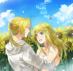 1boy 1girl :d blonde_hair blue_eyes couple edward_elric flower fullmetal_alchemist hetero long_hair open_mouth ponytail riru smile sunflower winry_rockbell