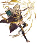 1girl bangs blonde_hair book breasts bridal_gauntlets cape circlet closed_mouth covered_navel fire_emblem fire_emblem_heroes fire_emblem_if full_body grey_eyes hair_ornament highres holding holding_book jewelry leg_up leotard long_hair looking_away medium_breasts official_art one_eye_closed open_book open_toe_shoes ophelia_(fire_emblem_if) see-through shiny shiny_hair shiny_skin smile solo sparkle transparent_background umiu_geso wavy_hair