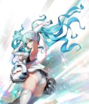 1girl aqua_eyes aqua_hair ass boots breasts cleavage elbow_gloves gloves goodsmile_racing hatsune_miku long_hair panties pantyshot pantyshot_(standing) solo standing thigh_boots thighhighs twintails underboob underwear upskirt vocaloid white_boots white_legwear white_panties yang-do