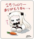 1girl =_= bowing carrot closed_eyes comic commentary covered_mouth dress horns kantai_collection long_hair mittens northern_ocean_hime pale_skin seiza shinkaisei-kan signature sitting solo translated twitter_username white_dress white_hair yamato_nadeshiko
