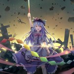 1girl :o absurdres arm_at_side arm_up backlighting blue_hair blush chinese_commentary commentary_request cowboy_shot destruction diffraction_spikes dress eyebrows_visible_through_hair food frilled_skirt frills fruit furrowed_eyebrows hair_between_eyes hat highres hinanawi_tenshi holding holding_sword holding_weapon layered_dress leaf light_trail long_hair looking_at_viewer neck_ribbon open_mouth orange_eyes outdoors peach puffy_short_sleeves puffy_sleeves red_neckwear ribbon short_sleeves siyuan9629 skirt solo standing sunset sword sword_of_hisou touhou v-shaped_eyebrows very_long_hair weapon