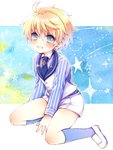 1boy :d ahoge arthur_pendragon_(fate) bangs between_legs blonde_hair blue_legwear blue_neckwear blue_shirt blush buttons chonkoo collared_shirt commentary_request eyebrows_visible_through_hair fate/prototype fate_(series) full_body green_eyes hair_between_eyes kneehighs loafers long_sleeves looking_at_viewer male_focus necktie open_mouth shiny shiny_hair shirt shoes shorts sitting smile solo star starry_background striped striped_shirt tie_clip waistcoat white_footwear white_shorts yokozuwari younger
