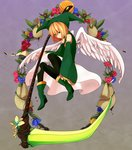 1boy :| androgynous angel_wings bag bangs bare_shoulders black_legwear blonde_hair bob_cut boots closed_mouth crossdressing cutout detached_sleeves diamond_(shape) elona expressionless facing_away feathered_wings feathers flower from_side full_body god gradient gradient_background green_eyes green_footwear green_hat green_shirt hair_between_eyes hat holding holding_scythe holding_weapon jester_cap kumiromi_of_harvest leaf legs_apart long_sleeves looking_at_viewer male_focus multicolored multicolored_background nose pantyhose platform_boots platform_footwear red_rose ribbon-trimmed_clothes ribbon-trimmed_headwear ribbon_trim rose scythe seed shirt short_hair skirt sleeveless sleeveless_shirt sleeves_past_wrists solo turtleneck water watering_can weapon white_skirt white_wings wide_sleeves wings yarai_(fdhjzs) yellow_rose