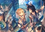 4boys ahoge animal_ears bed black_gloves black_hair blue_eyes blush brown_eyes brown_hair cat_ears character_request closed_mouth gloves granblue_fantasy holding holding_sword holding_weapon indoors lantern looking_at_another male_focus multiple_boys open_mouth pointy_ears railing rope scorpion5050 short_hair smile stairs standing sword treasure_chest weapon