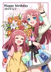 2girls ahoge apple blue_eyes bouquet bow child closed_eyes commentary dated dress dual_persona flower food fruit hand_up happy_birthday heart idol lily_(flower) minamoto_sakura multiple_girls one_side_up polka_dot polka_dot_bow red_hair rhubarb time_paradox translation_request younger zombie_land_saga