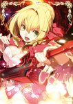 1girl :d aestus_estus bangs blonde_hair blush breasts cleavage commentary_request dress epaulettes eyebrows_visible_through_hair fate/extra fate_(series) green_eyes hair_between_eyes holding holding_sword holding_weapon juliet_sleeves long_sleeves looking_at_viewer medium_breasts nero_claudius_(fate) nero_claudius_(fate)_(all) open_mouth puffy_sleeves red_dress smile solo sparkling_eyes sword v-shaped_eyebrows weapon wide_sleeves yuuzii