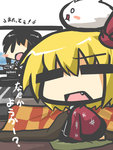 2girls :d =_= blonde_hair blush_stickers chibi commentary fang fubuki_(kantai_collection) gomasamune hair_ribbon happi kantai_collection kedama kotatsu long_hair multiple_girls open_mouth ribbon rumia school_uniform serafuku short_hair sitting smile solid_oval_eyes table television touhou translated turret