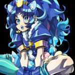 1girl :o animal_ears black_background blue blue_bow blue_eyes blue_footwear blue_gloves blue_hair blue_legwear blue_shirt blue_skirt blue_tongue bow cure_gelato extra_ears fang gloves indian_style kirakira_precure_a_la_mode lion_ears lion_tail long_hair looking_at_viewer magical_girl ninomae open_mouth precure shirt shoes simple_background single_thighhigh sitting skirt solo tail tategami_aoi thighhighs