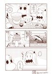 ... 3girls >_< blank_eyes bowl chopsticks closed_eyes collar comic detached_sleeves dress food food_on_face highres holding holding_bowl horn horns kantai_collection kotatsu long_hair mittens monochrome moomin multiple_girls muppo musical_note northern_ocean_hime outstretched_arm rice_bowl sazanami_konami seaport_hime shark shinkaisei-kan spoken_ellipsis standing surprised table tail tail_wagging television translation_request twitter_username watching_television wide_sleeves