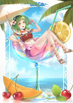 1girl alcohol artist_name bendy_straw black_bra blue_shorts blue_sky bra bracelet breasts cantaloupe cherry_blossoms cloud commentary_request crop_top cup cutoffs day denim denim_shorts deviantart_username drinking_straw floating flower flower_necklace flower_request food fruit goggles goggles_on_head green_eyes green_hair green_nails gumi hair_flower hair_ornament happy highres holding holding_food holding_fruit ice ice_cube in_container in_cup jewelry leaf leaning_back leg_garter lemon lemon_slice looking_at_viewer medium_breasts nail_polish navel necklace open_mouth oversized_object palm_tree partially_submerged sandals shorts sitting sky solo stomach sunlight thighs toenail_polish tongue tree underwear vocaloid watermark web_address yan_wong