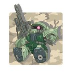 brown_background chibi commentary_request gun gundam highres holding holding_gun holding_weapon mecha no_humans rifle solo weapon yuuji_(and) zaku_ii
