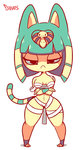 animal_ears animated bandages bangs blue_hair blunt_bangs bob_cut bouncing_breasts breasts cat cat_ears cat_girl cat_tail crossed_arms diives doubutsu_no_mori egyptian egyptian_clothes full_body furry hair_ornament half-closed_eyes hips mummy naked_bandage navel nile_(doubutsu_no_mori) pigeon-toed short_hair standing tail ugoira wide_hips yellow_skin