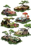 austin-healey_sprite back_to_the_future broken_glass car commentary commentary_request delorean dilapidated flower fly_agaric giant_mushroom glass grass ground_vehicle highres hover_board jaguar_e-type motor_vehicle mushroom no_humans original overgrown oversized_object partial_commentary pine_tree porsche_356 rust simple_background tokyogenso toyota_2000gt tree volkswagen_beetle volkswagen_type_1 white_background wreckage
