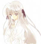 1girl grey_eyes hair_ribbon kasugano_sora koge_donbo long_hair ribbon silver_hair solo yosuga_no_sora