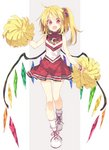 1girl ahoge bare_shoulders blonde_hair blush cheerleader commentary crystal dress fangs flandre_scarlet full_body looking_at_viewer open_mouth pleated_dress pom_poms red_eyes satou_kibi scrunchie shoes short_hair side_ponytail simple_background smile sneakers socks solo teeth touhou two-tone_background typo wings wristband