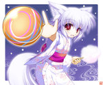1girl :d animal_ears ball blush cotton_candy cowboy_shot fang floral_print food holding holding_food inubashiri_momiji iwaki_hazuki japanese_clothes kimono light_particles long_sleeves looking_at_viewer obi open_mouth outstretched_arm red_eyes sash short_hair silver_hair simple_background smile solo tail tooth touhou wide_sleeves wolf_ears wolf_tail yukata