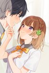 1boy 1girl >:) bad_id bad_pixiv_id bangs black_legwear blue_eyes blush bow bowtie braid brown_hair closed_mouth clover_hair_ornament collared_shirt commentary_request copyright_request eye_contact eyebrows_visible_through_hair four-leaf_clover_hair_ornament from_side hair_ornament hand_on_another's_chin hand_on_own_chest height_difference highres looking_at_another necktie official_art orange_bow orange_neckwear profile purple_eyes school_uniform shigure_ui shirt short_hair short_sleeves side_braid smile smug sweat upper_body white_shirt