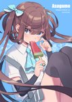 1girl amana_(pocketkey) arm_warmers asagumo_(kantai_collection) ascot black_legwear blue_background blue_neckwear blue_ribbon brown_hair character_name food food_in_mouth grey_skirt hair_ribbon highres holding holding_food kantai_collection long_hair looking_at_viewer pleated_skirt popsicle ribbon shirt short_sleeves silver_eyes simple_background skirt solo suspenders thighhighs twintails watermelon_bar white_shirt