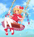 1girl absurdres blonde_hair blush bow capelet dress flandre_scarlet flower gloves hat hat_bow high_heels highres looking_at_another misoni_comi mob_cap red_eyes solo swing thighhighs touhou vines white_gloves white_legwear wings