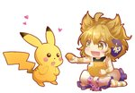 1girl :d ahoge bangs bare_arms bare_shoulders beige_dress blonde_hair blush bracelet chibi chinese_commentary commentary_request crossover dress earmuffs eyebrows_visible_through_hair food full_body gen_1_pokemon hair_between_eyes heart holding holding_food jewelry looking_at_another open_mouth petticoat pikachu pointy_hair pokemon shangguan_feiying short_hair simple_background sitting smile touhou toyosatomimi_no_miko white_background yellow_eyes