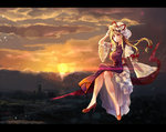 1girl arm_up armband bare_legs blonde_hair blurry bow breasts city cityscape cloud cloudy_sky crossed_legs dress floating gap hair_bow hat hat_ribbon high_heels holding holding_hat legs long_hair long_sleeves mob_cap moko_(3886397) orange_sky purple_eyes red_shoes ribbon shoes sitting sky solo sun sunset tabard touhou triangle white_dress wide_sleeves wind yakumo_yukari