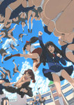 6+girls akinbo_(hyouka_fuyou) ass bag bangs battle black_hair black_legwear blazer blue_jacket blue_skirt blue_sky blunt_bangs bowtie brown_eyes brown_legwear brown_skirt cardigan chestnut_mouth clenched_hands cloud fighting_stance fisheye from_below hair_ornament hair_ribbon hairclip highres hime_cut jacket jumping kicking kneehighs loafers multiple_girls neck_ribbon original outdoors outstretched_arm panties pantyshot ponytail ribbon school school_bag school_uniform shirt shoes skirt sky sunlight swept_bangs thighhighs underwear upskirt white_legwear white_panties white_shirt