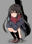 1girl :o black_hair blue_jacket brown_eyes brown_footwear commentary_request crossed_arms eyebrows_visible_through_hair full_body grey_background grey_skirt guitar_case hair_between_eyes highres instrument_case jacket k-on! legs_together light_blush long_hair long_sleeves looking_at_viewer monsieur nakano_azusa pleated_skirt red_scarf scarf school_uniform shoes simple_background skirt solo squatting twintails