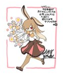 1girl :3 afterimage animal_ears black_footwear breasts brown_hair brown_legwear brown_skirt bunny_ears bunny_tail center_frills commentary_request dated european_hare_(kemono_friends) extra_ears frilled_skirt frills full_body fur-trimmed_sleeves fur_collar fur_trim hair_over_one_eye high-waist_skirt highres kemono_friends large_breasts long_hair long_sleeves pantyhose punching red_eyes shoes signature simple_background skirt solo tail translated white_background yoshida_hideyuki