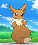 ambiguous_gender animated blue_sky brown_eyes brown_fur bush clapping cloud dancing eevee gen_1_pokemon grass happy looping_animation no_humans outdoors pawpads paws pokemon pokemon_(creature) ruff sky smile solo tan_fur uwu webm zaush
