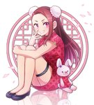 1girl 81_(mellowry) black_footwear brown_hair cherry_blossoms china_dress chinese_clothes double_bun dress flats floating_hair full_body grin idolmaster idolmaster_(classic) leg_hug long_hair looking_at_viewer minase_iori pink_eyes print_dress red_dress reflection shoes short_dress short_sleeves sitting smile solo stuffed_animal stuffed_toy thigh_strap very_long_hair white_background
