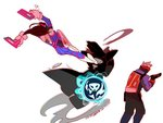 1girl 2boys arm_strap arms_up black_clothes black_jacket bodysuit boots bracer brown_hair charm_(object) clothes_writing coat covered_mouth d.va_(overwatch) darkness dual_wielding e-mail_address face_mask flying_kick from_behind gloves gun handgun headphones holster hood hooded_jacket jacket kicking long_hair long_sleeves looking_back mask midair multiple_boys mundal overwatch pants pauldrons pilot_suit reaper_(overwatch) red_gloves ribbed_bodysuit scar scar_across_eye short_hair shotgun shoulder_pads simple_background soldier:_76_(overwatch) standing thigh_boots thigh_strap thighhighs trench_coat turtleneck visor weapon white_background white_boots white_gloves white_hair